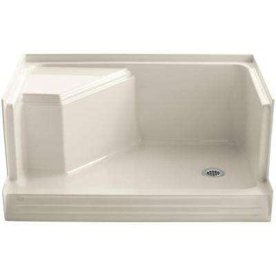 Memoirs 48 in. x 36 in. Single Threshold Shower Base with Integral Seat on Left in Almond