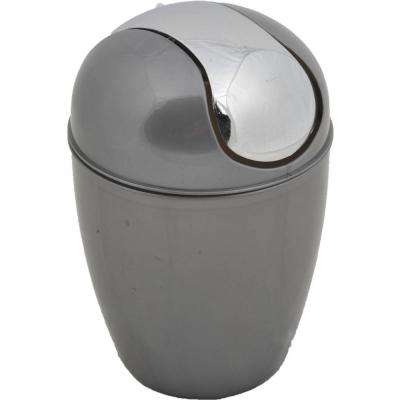 0.5 l/0.3 Gal. Mini Waste Basket for Bath or Kitchen Countertop with Chrome Lid in Grey