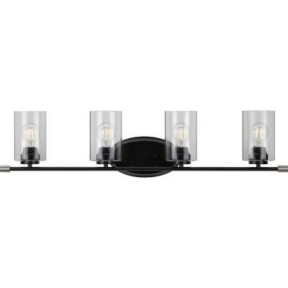 Riley 4-Light Black Bath Light