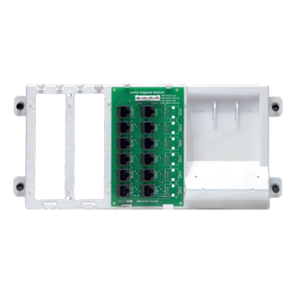 Leviton Structured Media 4x12 Telephone Distribution Board on Bracket with 8-Way 2 GHz Splitter