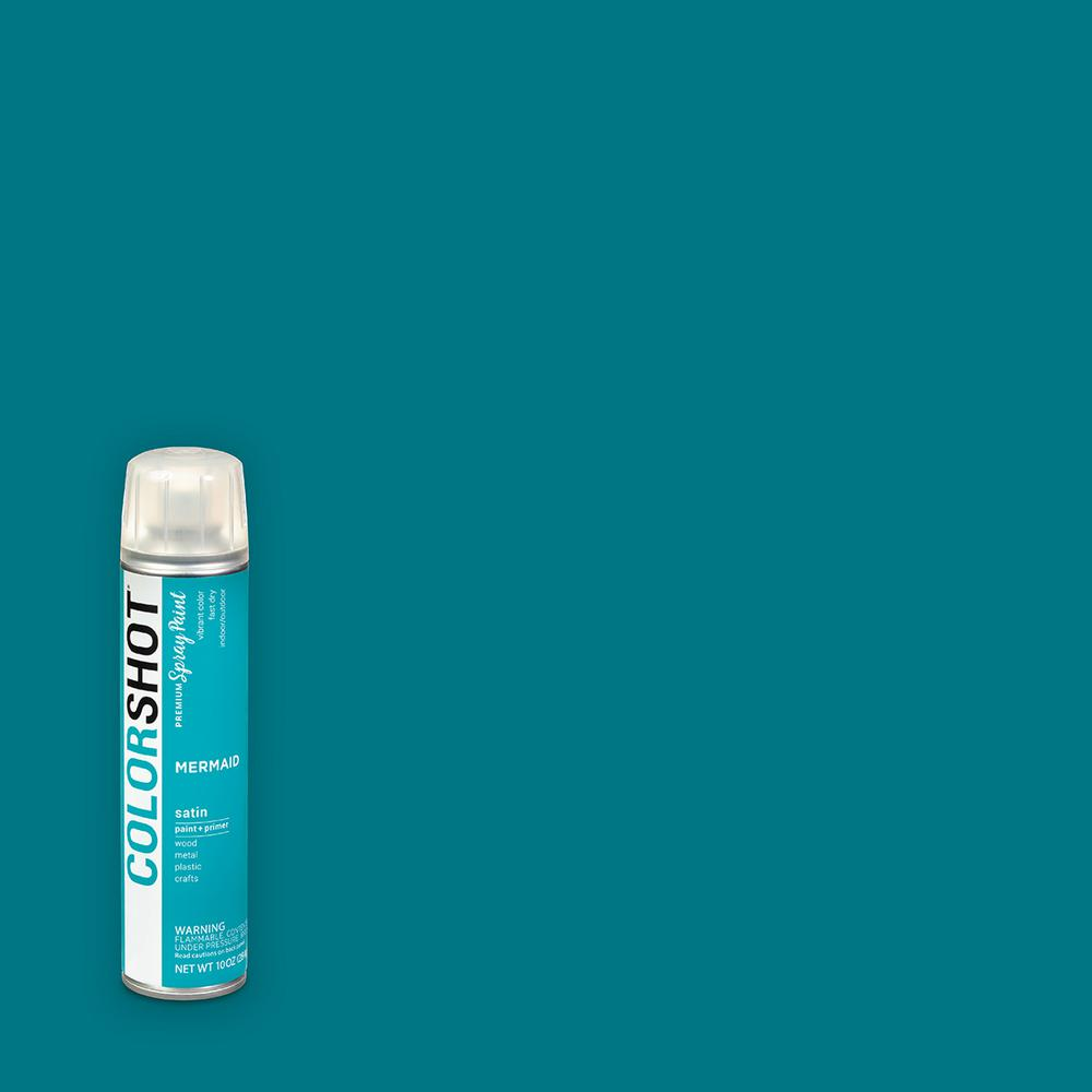 COLORSHOT 10 oz. Satin Mermaid Teal General Purpose Aerosol Spray Paint