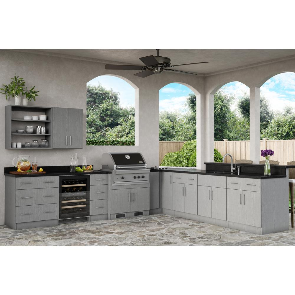 WeatherStrong Assembled 18x84x24 in. Miami Outdoor Kitchen Utility Cabinet  with 2 Doors Left in Rustic Gray