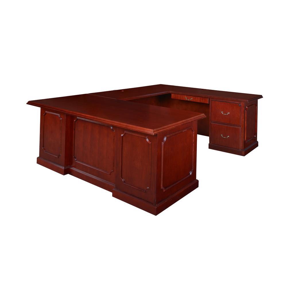 72 in. x 36 in. Prestige Mahogany  Double Pedestal U-Desk
