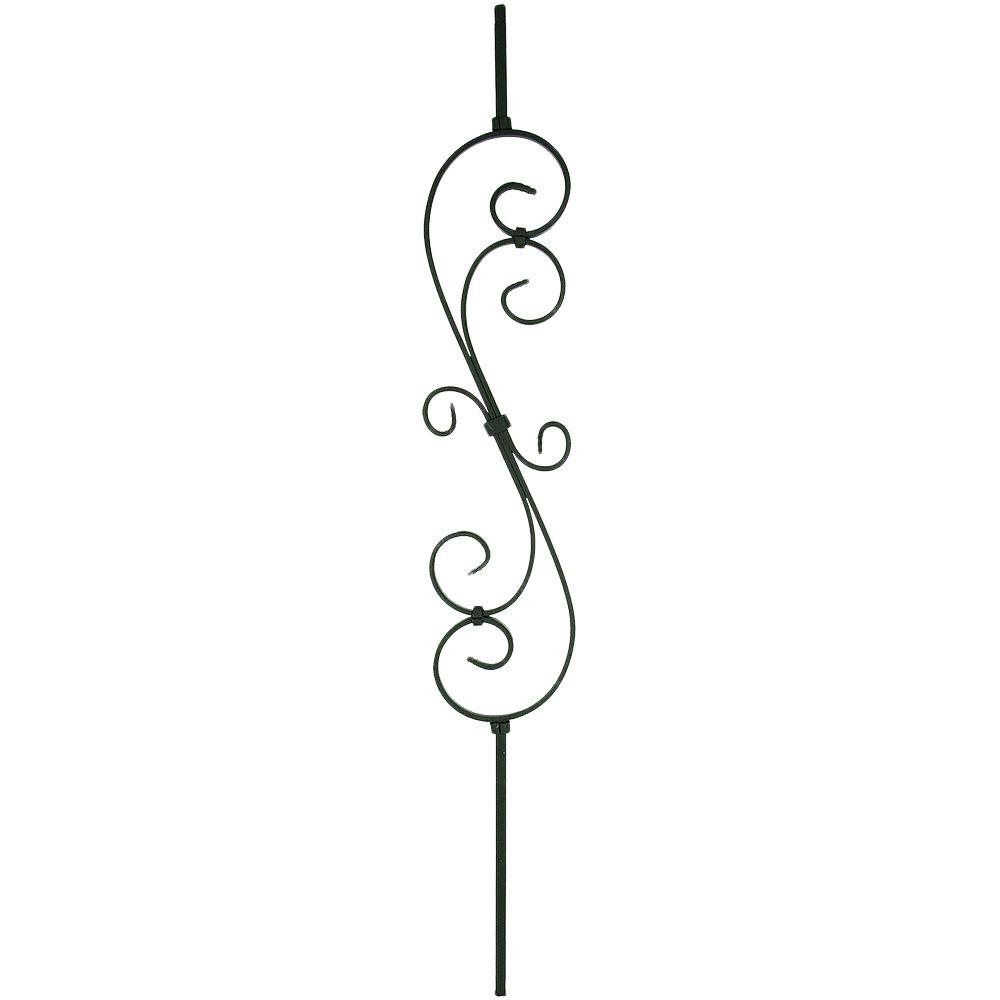 Stair Parts 44 In X 0 5 In Satin Black Decorative Scroll Metal Baluster