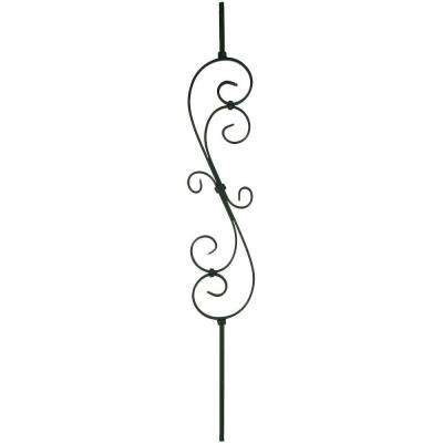 44 in. x 0.5 in. Satin Black Decorative Scroll Metal Baluster