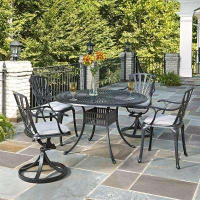 Cast Aluminum 5 Piece Patio Dining Set With Gray Cushions