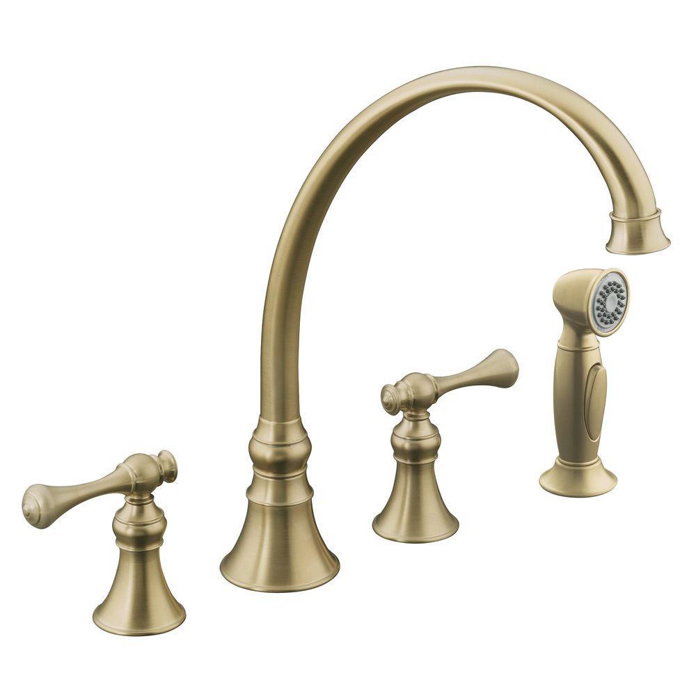 Kohler Revival Traditional 2 Handle Standard Kitchen Faucet In Vibrant Brushed Bronze