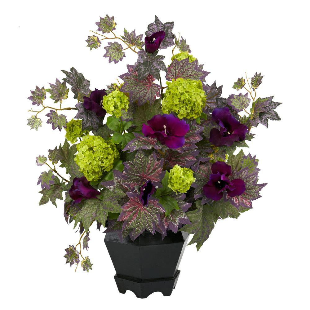 21 in. H Purple and Green Morning Glory and Hydrangea Arrangement