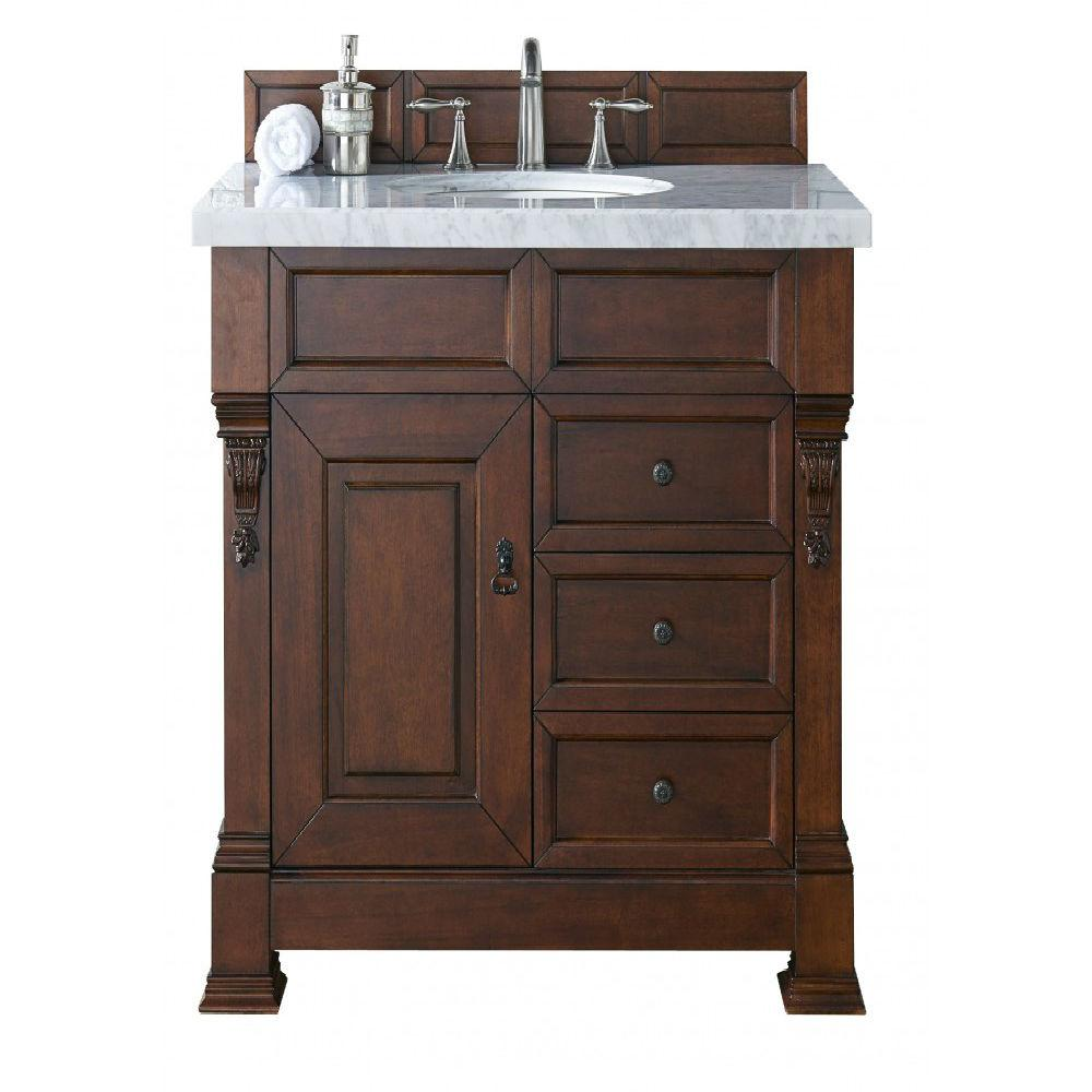 James Martin Signature Vanities Brookfield 36 In W Single Vanity With Drawers Warm Cherry Marble Top Carrara White Basin
