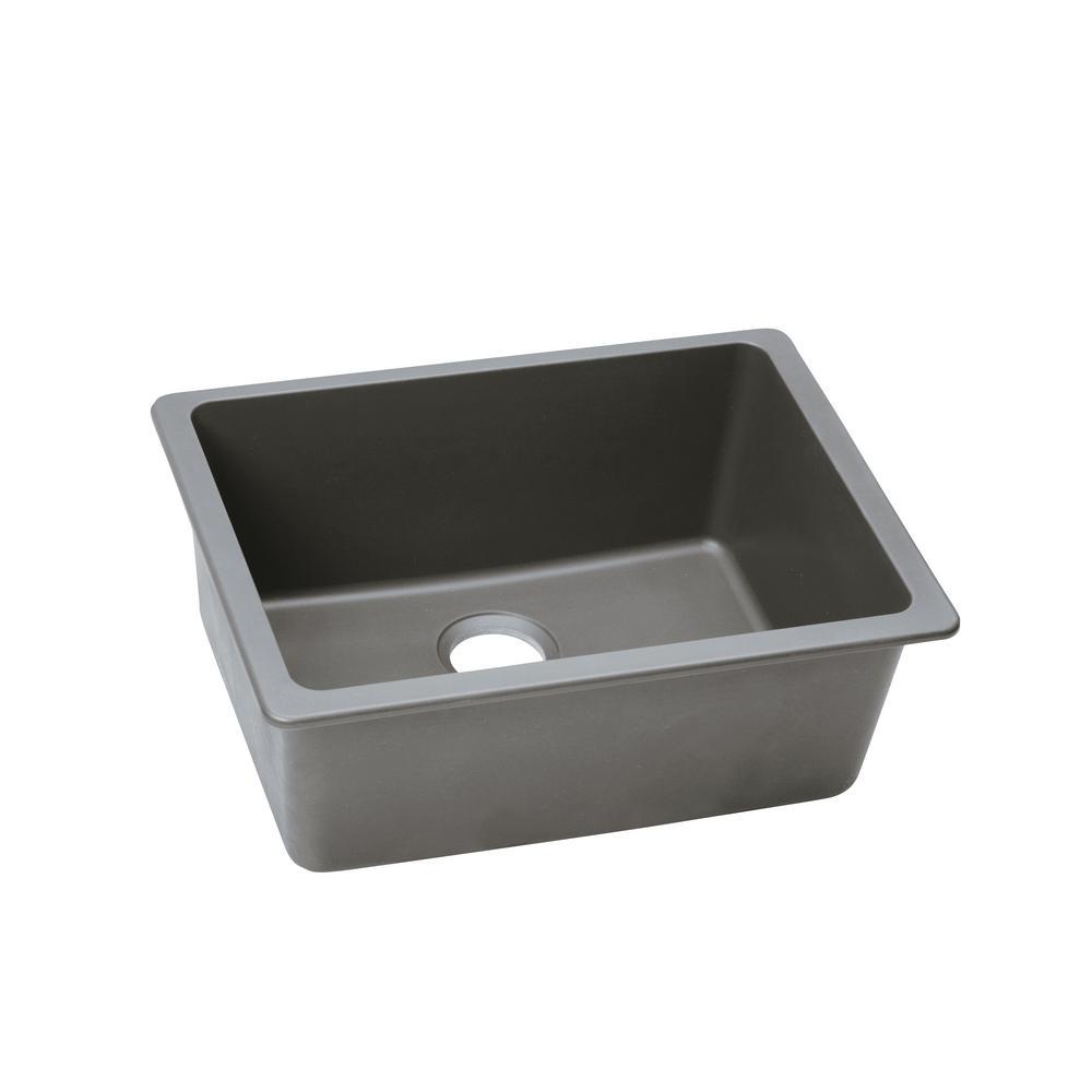 elkay quartz classic undermount composite 25 in  single bowl kitchen sink in greystone elkay quartz classic undermount composite 25 in  single bowl      rh   homedepot com