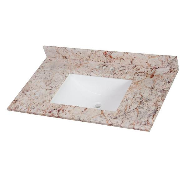 37 in. W x 22 in. D Stone Effects Vanity Top in Rustic Gold with White Sink