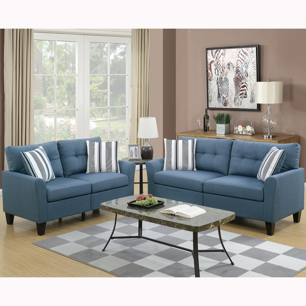 Venetian Worldwide Sardinia 2 Piece Blue Sofa Set