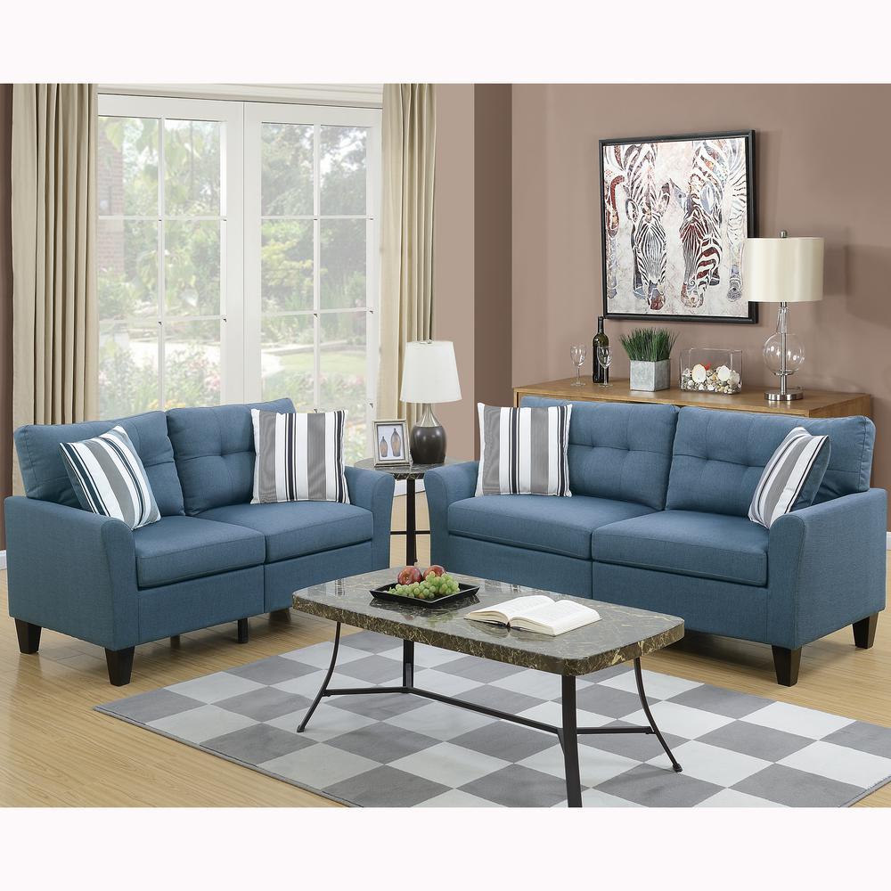 Venetian Worldwide Sardinia 2-Piece Blue Sofa Set VENE-F6535 ...