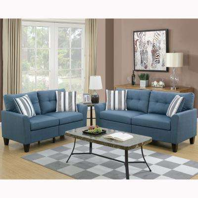 Merveilleux Sardinia 2 Piece Blue Sofa Set