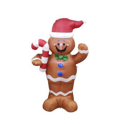 60 in. Christmas Inflatable LED Waving Gingerbread Man with UL Certified Blower