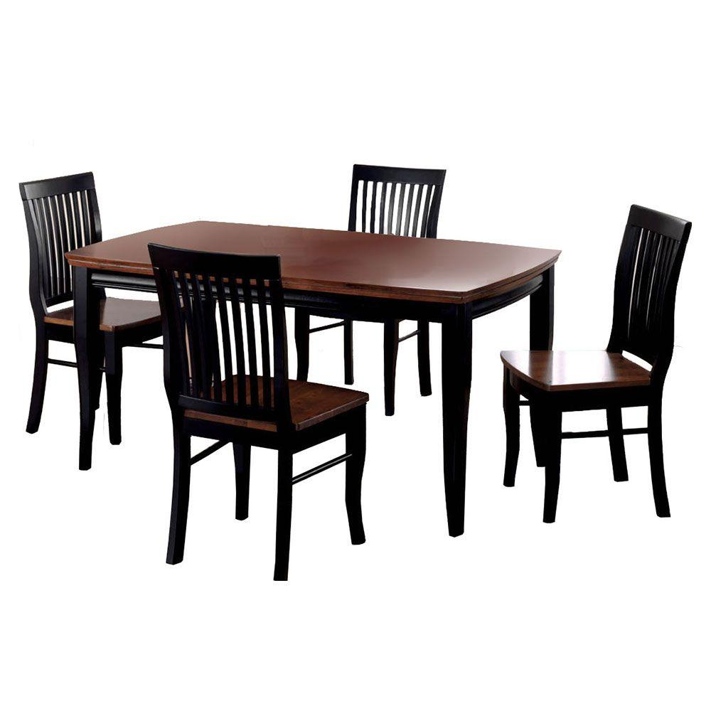 Venetian Worldwide Earlham 5 Piece Antique Oak And Black Finish Dining Set
