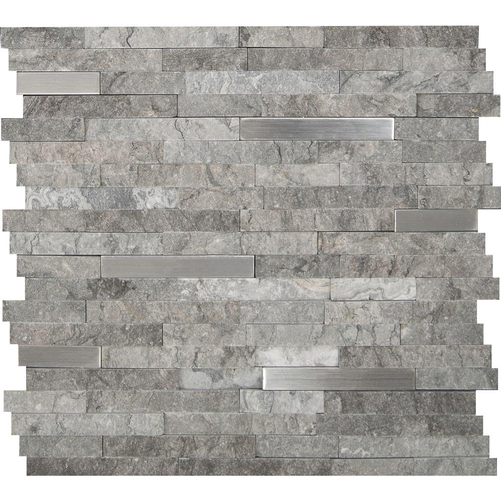 MSI Eclipse Interlocking 12 in. x 12 in. x 8 mm Metal Stone Mesh-Mounted Mosaic Wall Tile (10 sq. ft. / case)