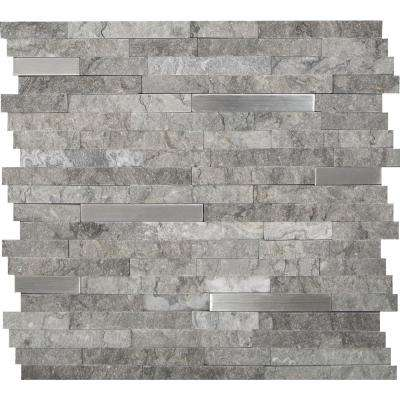 Eclipse Interlocking 12 in. x 12 in. x 8 mm Metal Stone Mesh-Mounted Mosaic Wall Tile (10 sq. ft. / case)