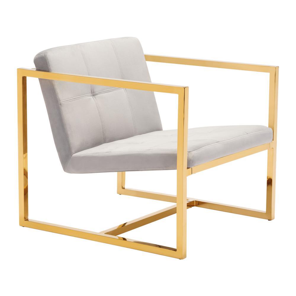 Alt Gray Velvet Arm Chair