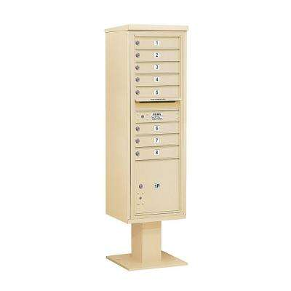 3400 Series 70-1/4 in. 15 Door High Unit Sandstone 4C Pedestal Mailbox with 8 MB1 Doors/1 PL5