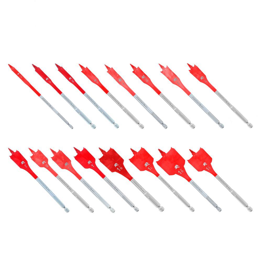 16-Piece SPEEDemon High Speed Steel Spade Bit Set with Pouch