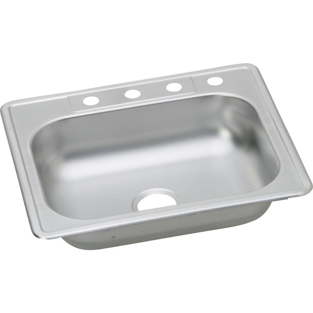 Drop-In Stainless Steel 25 in. 4-Hole Single Bowl Kitchen Sink (12-Pack)