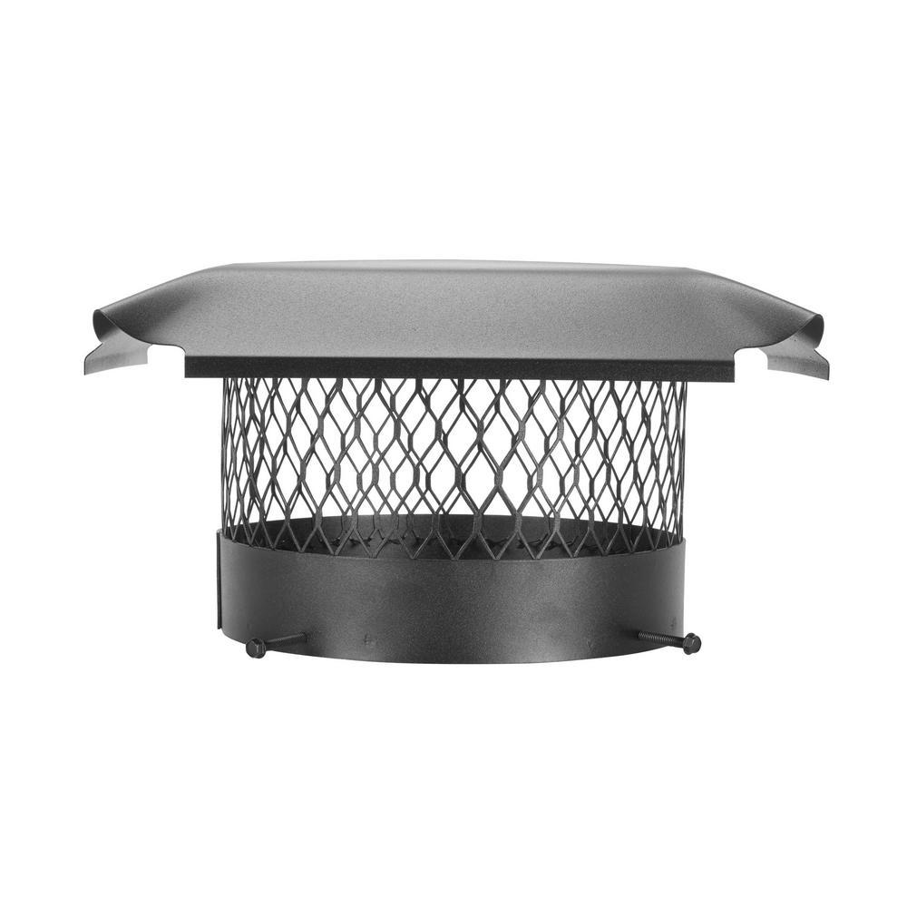 10 in. Round Bolt-On Single Flue Chimney Cap in Black Galvanized Steel