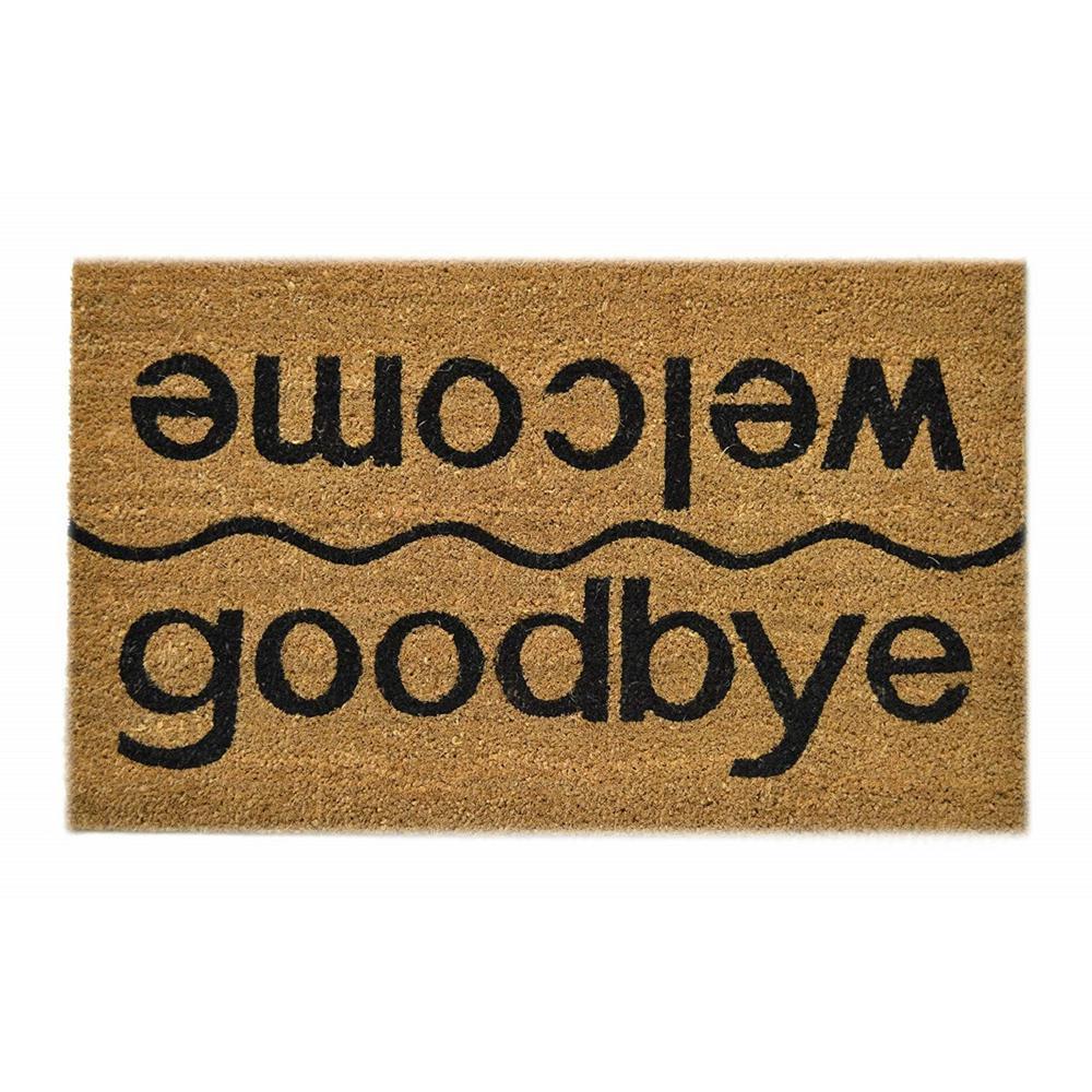 PVC Backed Coir, Welcome-Goodbye, 30 in. x 18 in., Coconut Husk Door Mat