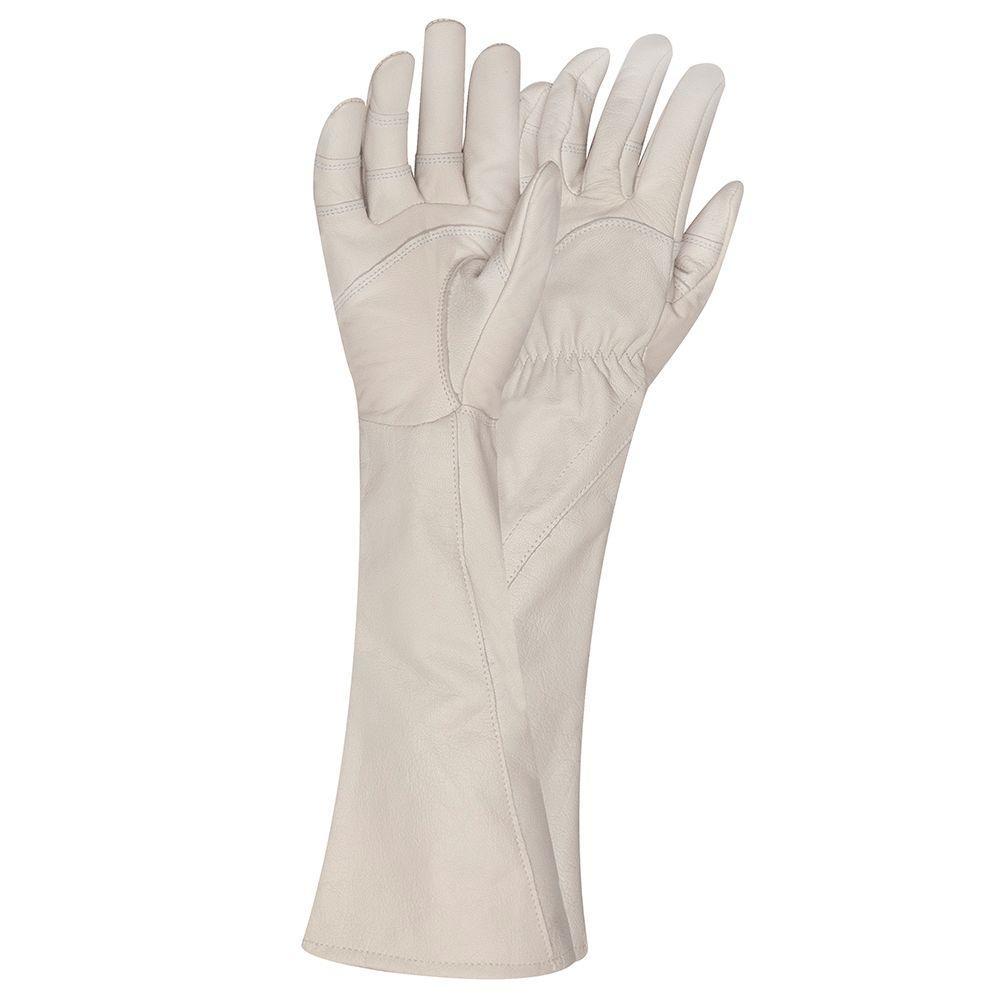 Large Rose Gauntlet Gardening Gloves, Beige/Ivory