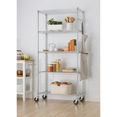 EcoStorage 5-Tier Wire 36 in. x 18 in. x 72 in. Shelving Rack with Wheels in Chrome