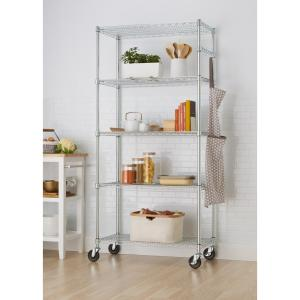 Trinity EcoStorage 5 Tier Wire 36 In. X 18 In. X 72 In. Shelving Rack With  Wheels In Chrome TBFZ 0906   The Home Depot