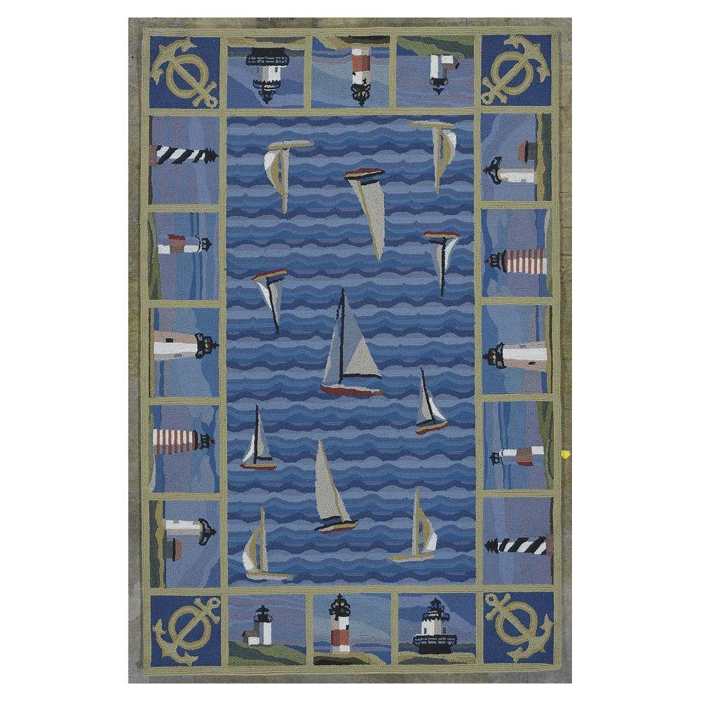 Sail the Seas Blue 8 ft. x 10 ft. 6 in.