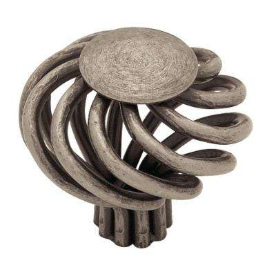 Swirl 1-1/2 in. (38mm) Antique Pewter Large Wire Flat Top Cabinet Knob