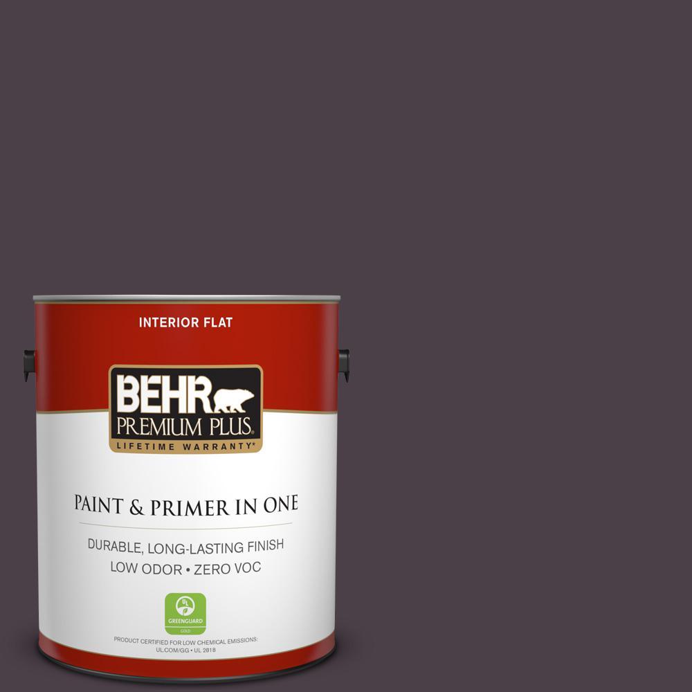 BEHR Premium Plus 1-gal. #T13-10 Plum Orbit Zero VOC Flat Interior Paint