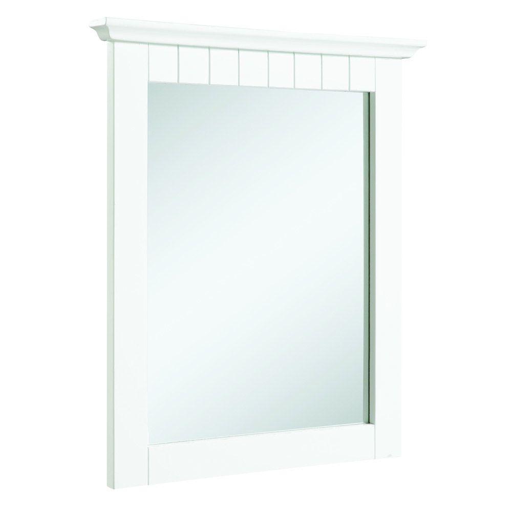Cottage 21 in. W x 24 in. H Framed Rectangular Bathroom Vanity Mirror in White