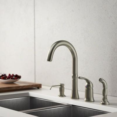 4-Hole Single-Handle Standard Kitchen Faucet with Side Spray and Soap Dispenser in Brushed Nickel
