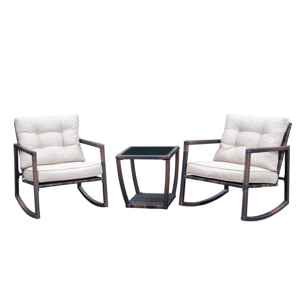 sunjoy brown 3 piece wicker outdoor bistro set with white cushions