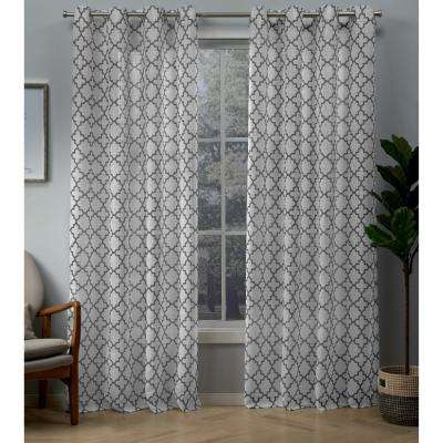 Helena Charcoal Printed Sheer Grommet Top Curtain - 54 in. W x 96 in. L