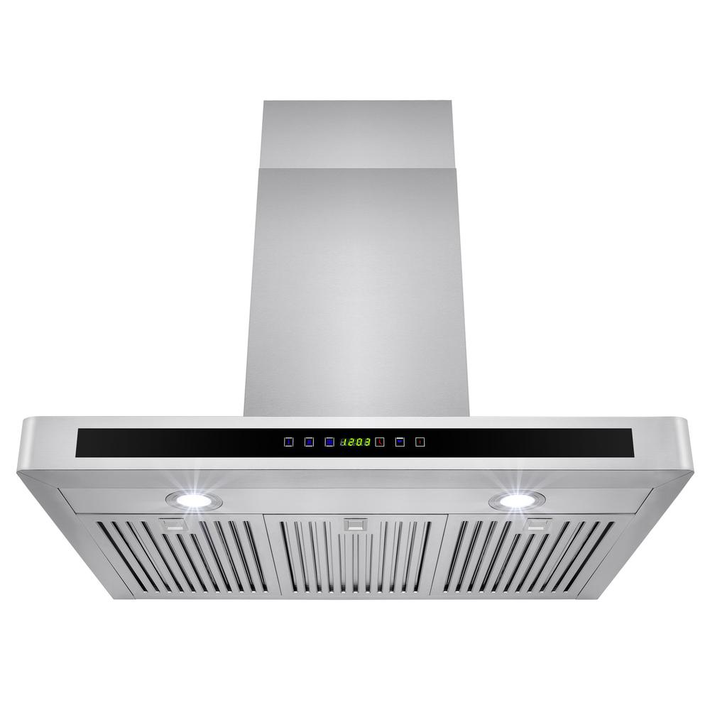 Akdy 36 In Convertible Kitchen Wall Mount Range Hood Stainless Steel With Leds And