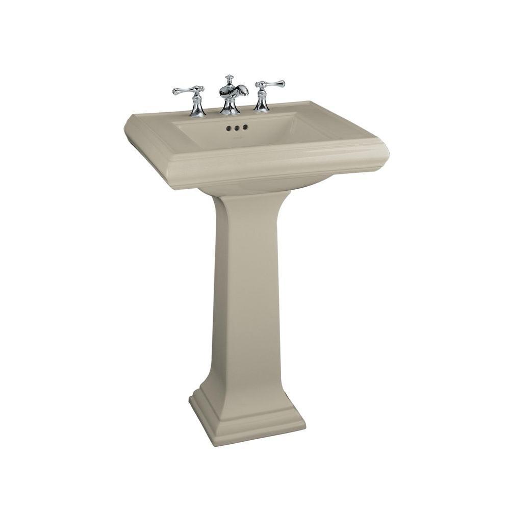 Memoirs Ceramic Pedestal Combo Bathroom Sink in Sandbar with Overflow Drain