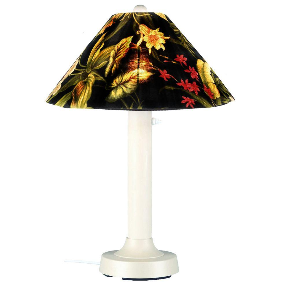 Patio Living Concepts Seaside Outdoor 34 in. White Table Lamp with Ebony Shade Medium-DISCONTINUED