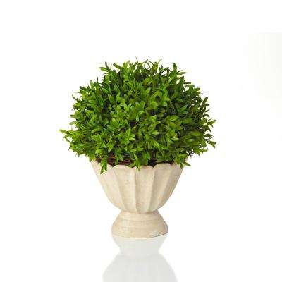 Myrtle Collection 11.5 in. Faux Myrtle in Faux Stone Footed Pot