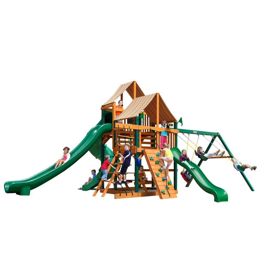 Gorilla Playsets Great Skye II with Timber Shield and Sunbrella Weston Ginger Canopy Cedar Playset