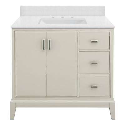 Shaelyn 37 in. W x 22 in. D Bath Vanity in Rainy Day RH with Engineered Marble Vanity Top in Snowstorm with White Sink