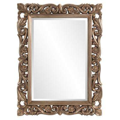 41 in. x 31 in. Aged Silver Leaf Rectangle Framed Mirror
