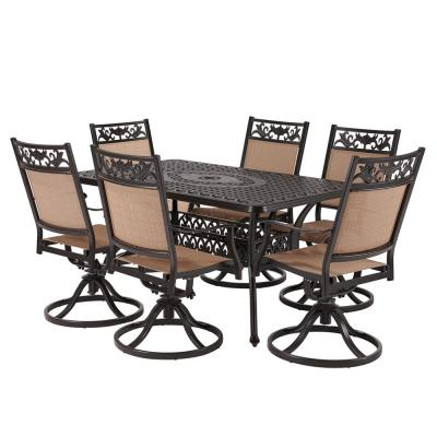 Classic Dark Brown 7-Piece Cast Aluminum Outdoor Dining Set with Rectangle Table and Swivel Dining Chairs