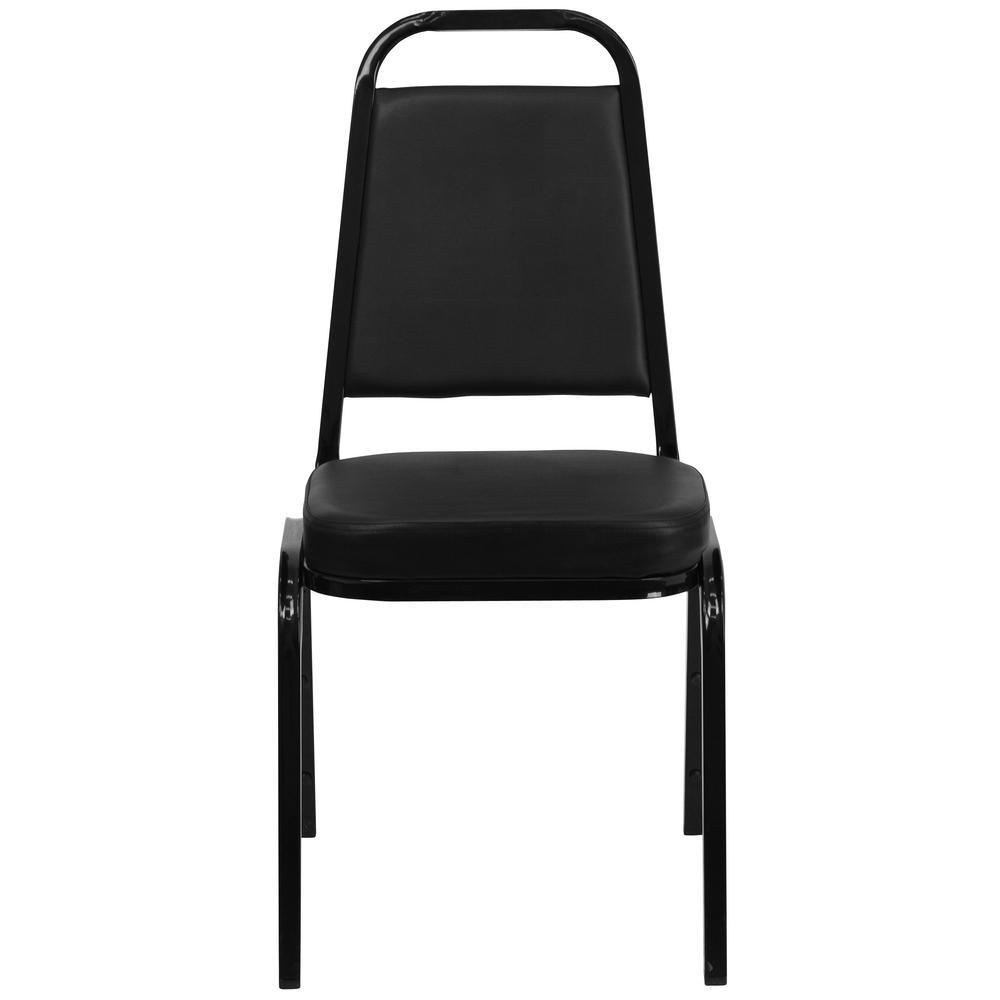 Black Vinyl/Black Frame Stack Chair