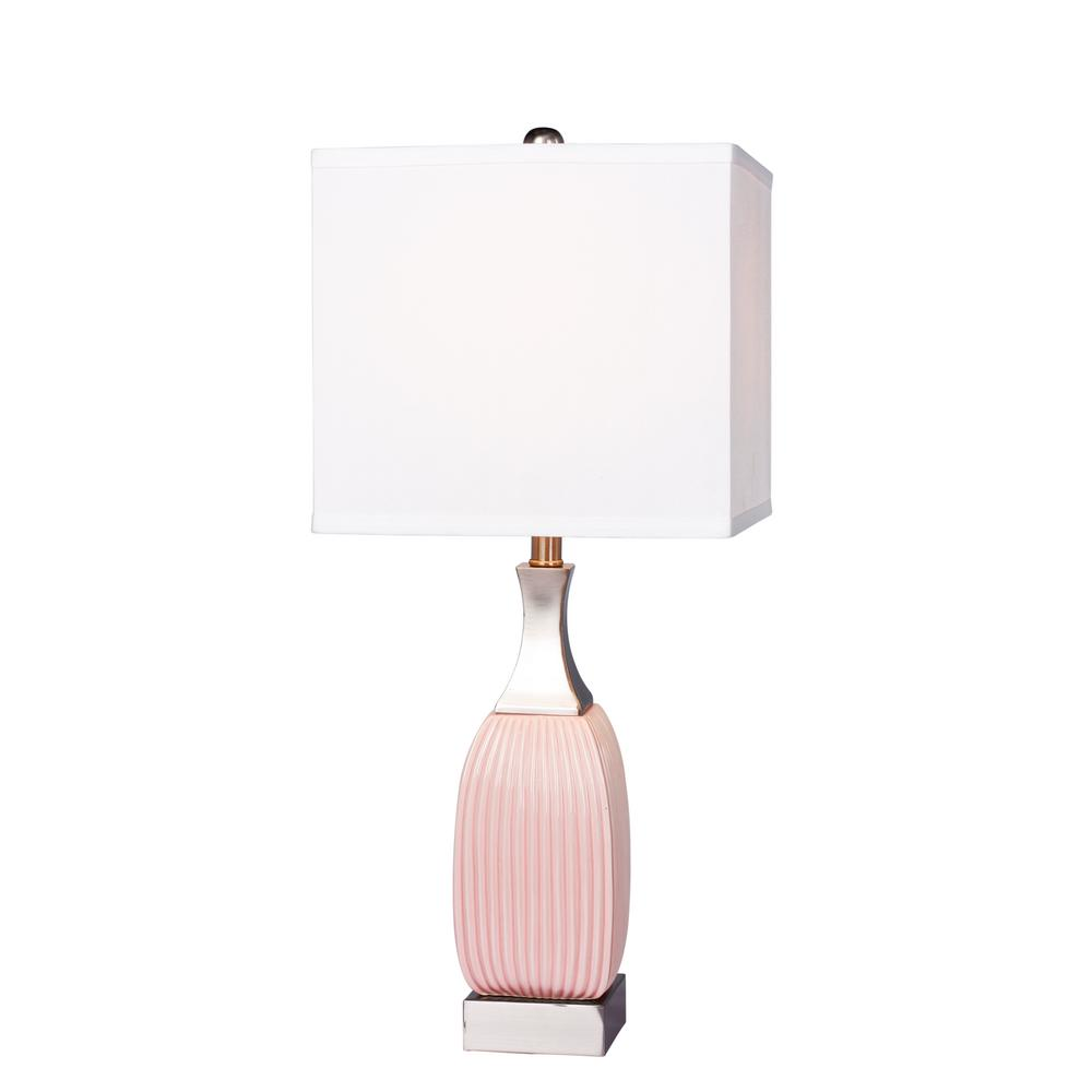 Ribbed Pink Ceramic And Nickel Metal Vertically Table Lamps