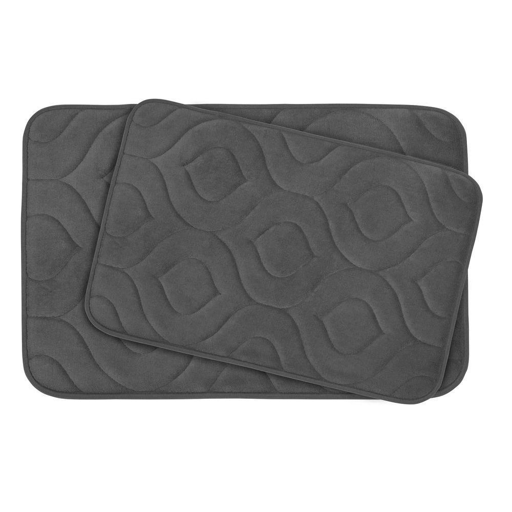 Naoli Dark Grey 20 in. x 34 in. Memory Foam 2-Piece Bath Mat Set