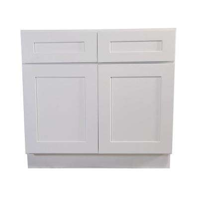 Brookings Plywood Assembled Shaker 48x34.5x24 in. 2-Door 2-Drawer Base Kitchen Cabinet in White